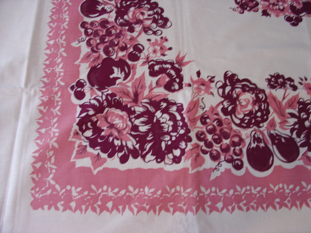 Pink Magenta Fruit Floral MWT Vintage Printed Tablecloth (78 X 58 per label)