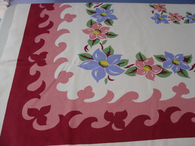 Pink Periwinkle Clematis on Magenta Wavy Floral Vintage Printed Tablecloth (52 X 46)