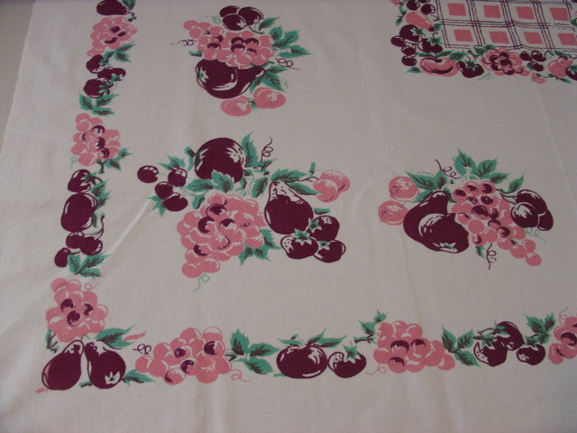 Pink Magenta Fruit Plaid Vintage Printed Tablecloth (50 X 45)