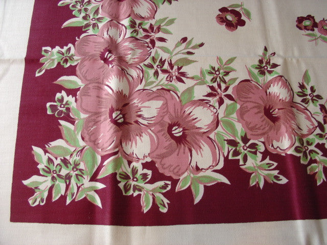 Pink Green Hibiscus Floral MWT Vintage Printed Tablecloth (52 X 52 per label)