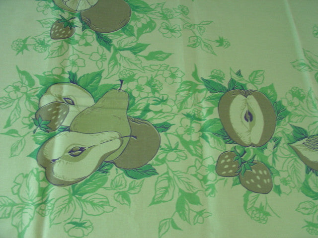 Avocado Green Fruit MWT Vintage Printed Tablecloth (52 X 52 per label)