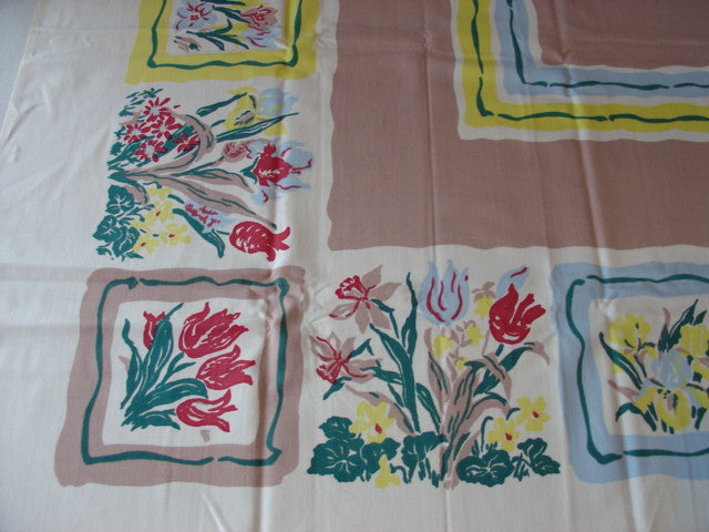 Primary Spring Tulips on Tan Floral MWT Vintage Printed Tablecloth (53 X 53 per label)