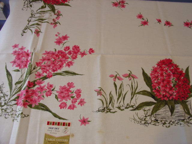 Pink Hyacinths Spring Floral NWT Vintage Printed Tablecloth (70 X 52 per label)