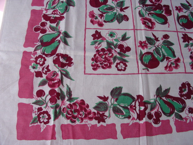 Unwashed Green Pink Fruit Vintage Printed Tablecloth (70 X 53)