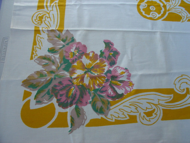 Pink Yellow Hibiscus Floral MWT Vintage Printed Tablecloth (52 X 52 per label)