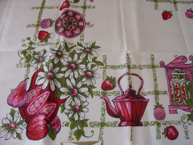 60s Pink Colonial Dishes MWT Vintage Tablecloth (50 X 50 unmeasured)