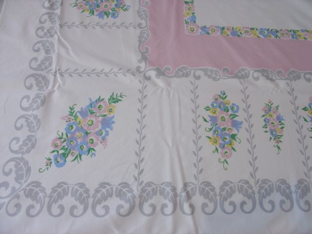 Pretty Pink Pastel Floral Vintage Printed Tablecloth (58 X 52)