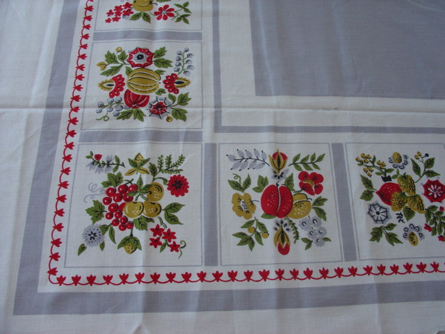 Primary Red Yellow Green Fruit on Gray MWT Vintage Printed Tablecloth (52 X 52 per label)
