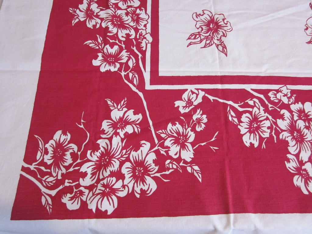 Dogwood on Red Single Color Floral Vintage Printed Tablecloth (63 X 52)