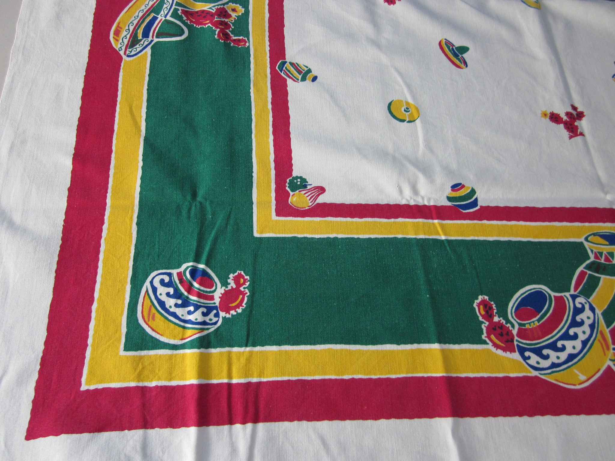 Primary Mexican Pots Startex Novelty Vintage Printed Tablecloth (52 X 48)