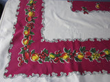Primary Fruit on Magenta Vintage Printed Tablecloth (64 X 54)