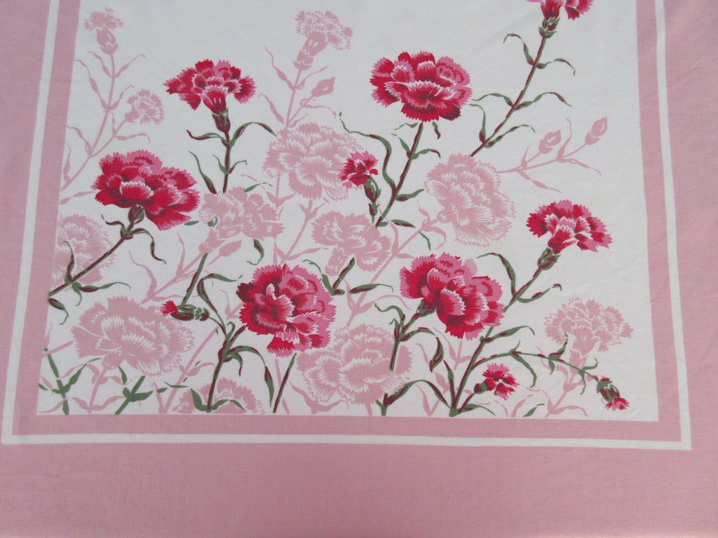 Pink Green Carnations on Pink Summery Floral Vintage Printed Tablecloth (56 X 52)
