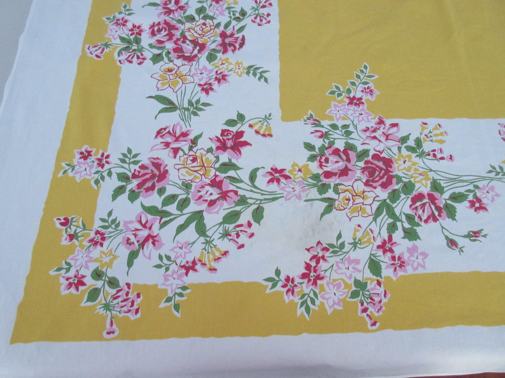 Pink Roses Yellow Daffodils on Yellow Floral Vintage Printed Tablecloth