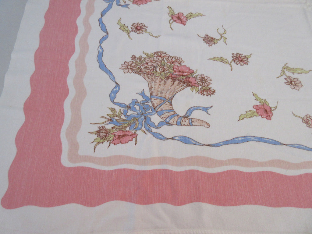 Kate Greenaway Pastel Cornucopia Ribbons on Pink Floral Vintage Printed Tablecloth (51 X 40)