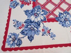 EARLY Patriotic Blue Dahlias on Red Floral Vintage Printed Tablecloth (50 X 44)