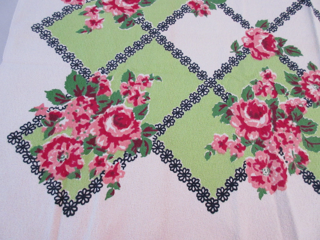 Unusual Marlene Linens Pink Roses on Lime MWT Floral Vintage Printed Tablecloth (47 X 45)