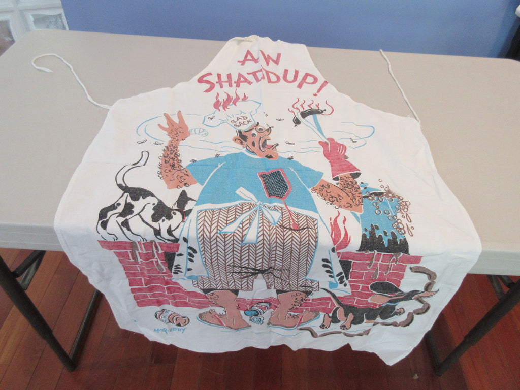 Vernon McQuiddy BBQ Barbecue Apron Shaddup Vintage Printed