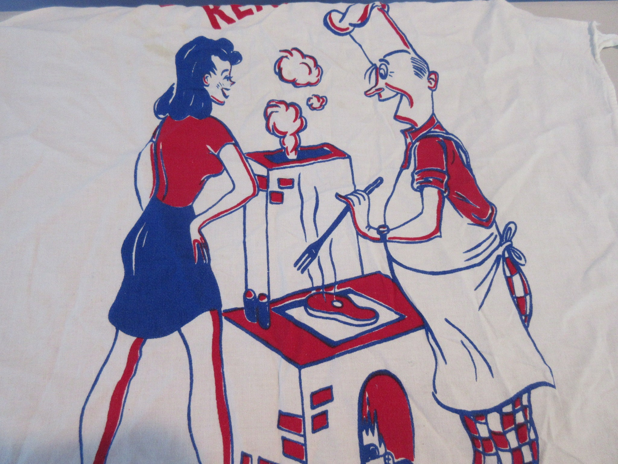 Man Woman Grilling BBQ Barbecue Apron Vintage Printed