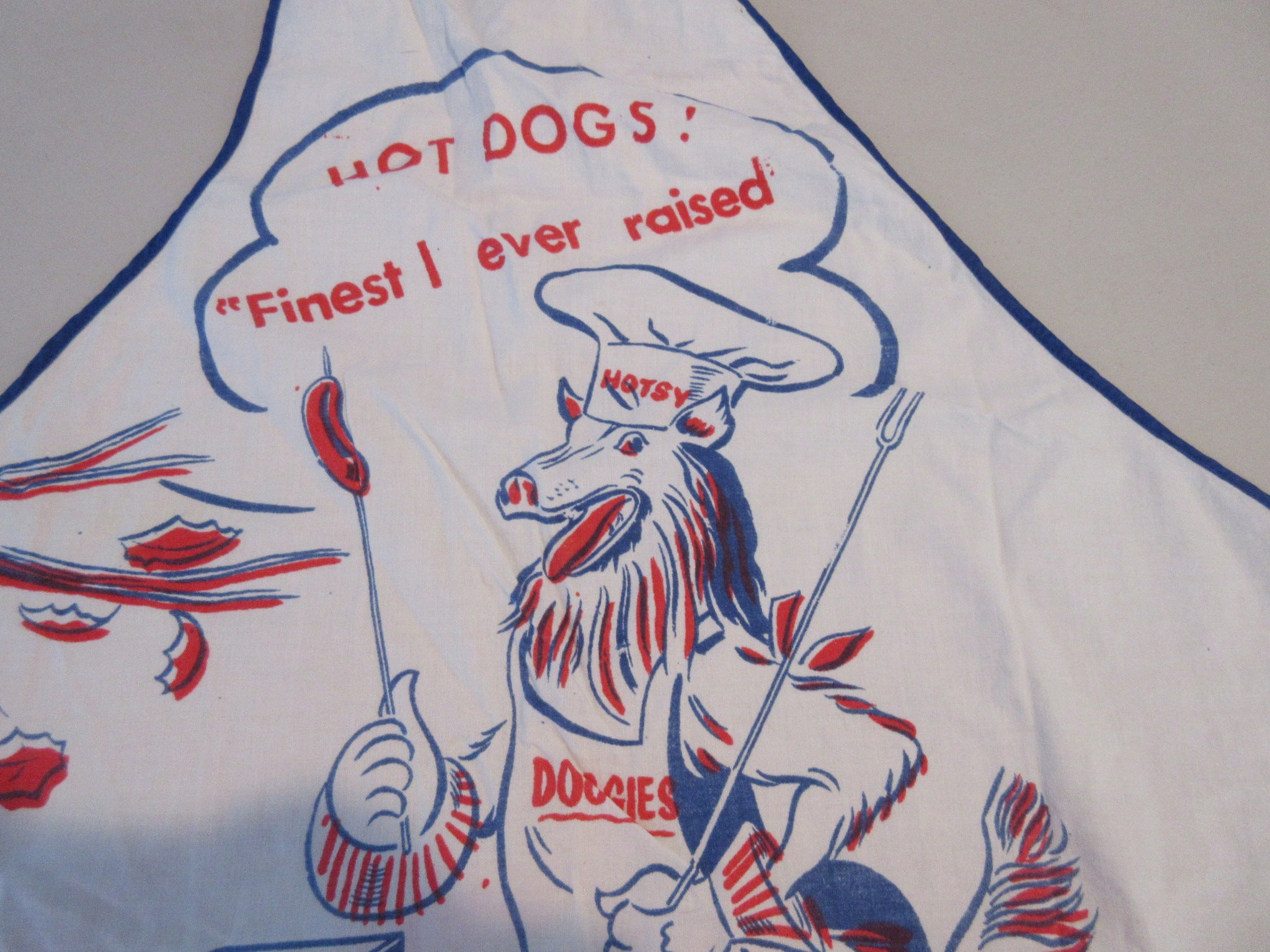 Hotsy Hot Dogs Collie Weird BBQ Barbecue Apron Vintage Printed