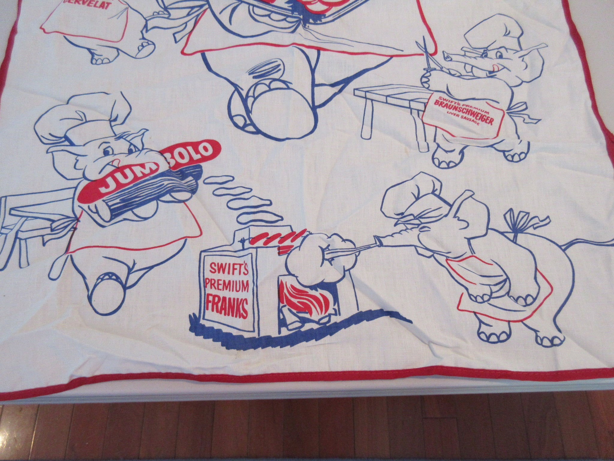 Swift's Premium Advertising Elephants BBQ Barbecue Apron Vintage Printed