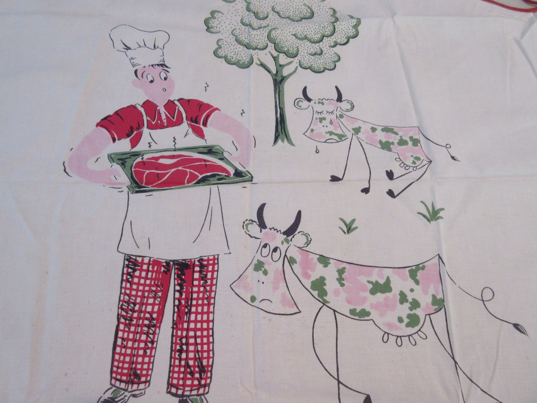 Sad Cow Steak Grilling BBQ Barbecue Apron Vintage Printed