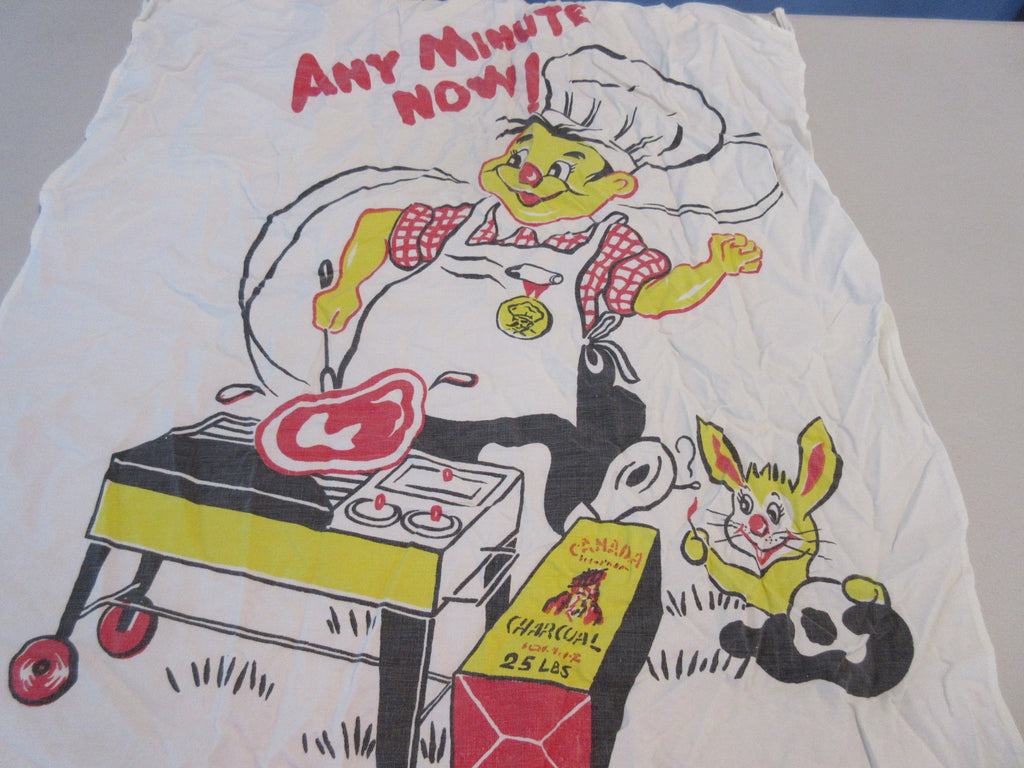 Chef Grilling Pyromaniac Rabbit BBQ Barbecue Apron Vintage Printed