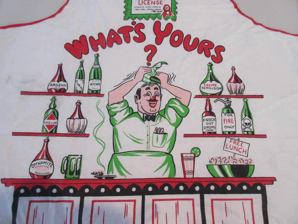 Bright What's Yours Bartender Poison BBQ Barbecue Apron Vintage Printed