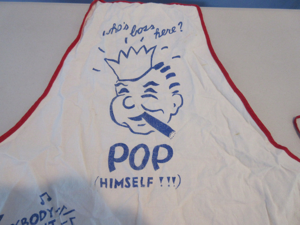 Pop's In Charge Cartoon BBQ Barbecue Apron Vintage Printed