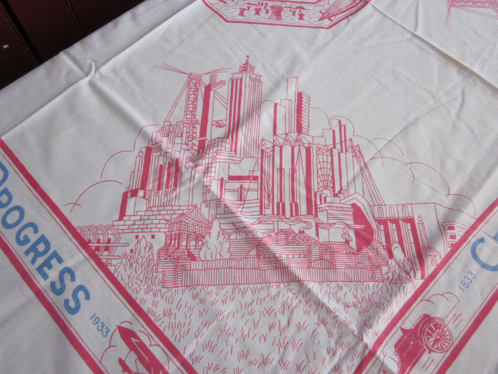Rare Chicago Illinois Worlds Fair 1933 Novelty Vintage Printed Tablecloth (54 X 49)