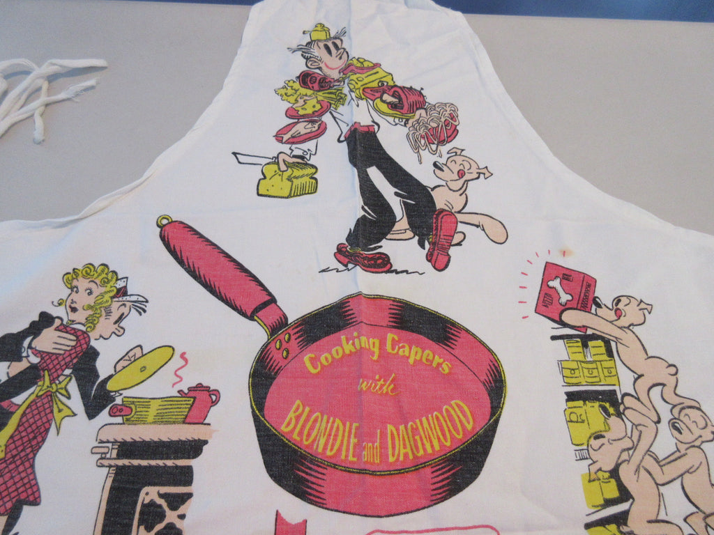 Damaged Dagwood Blondie Cooking Capers Cartoon BBQ Barbecue Apron Vintage Printed