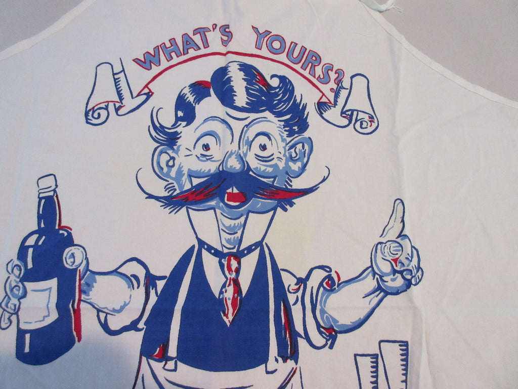 Tony Sarg Bartender Cartoon BBQ Barbecue Apron Vintage Printed
