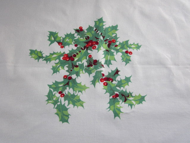 Wilendur Christmas Holly Vintage Printed Tablecloth (54 X 48)