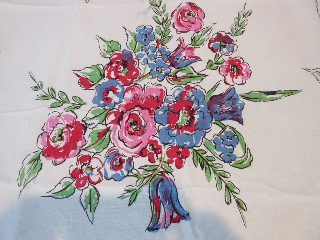 Bright Mod Fantasy Flowers Cutter? Floral Vintage Printed Tablecloth (62 X 53)