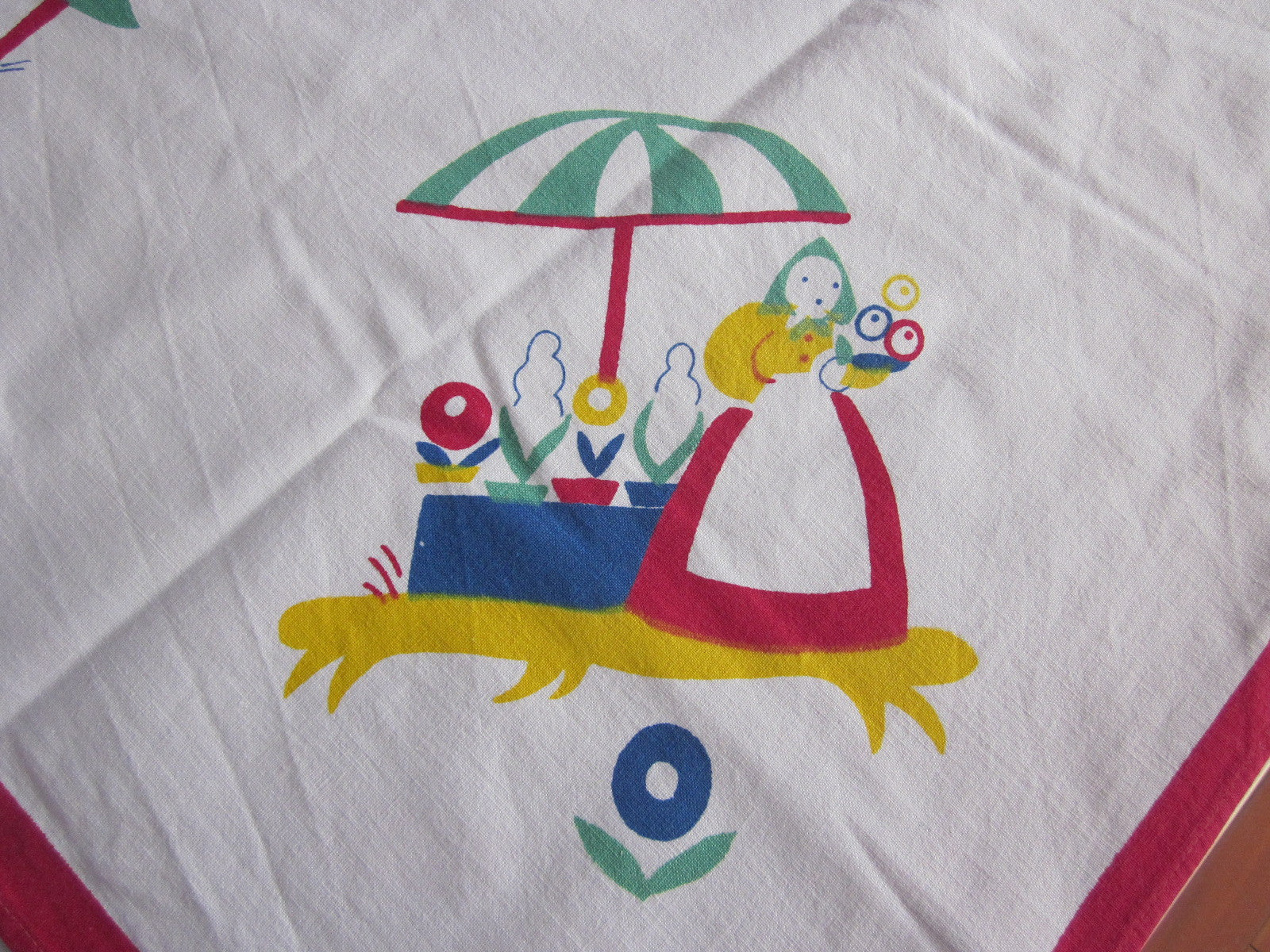 Dewan Primary Cartoon People Novelty Vintage Printed Tablecloth (51 X 46)