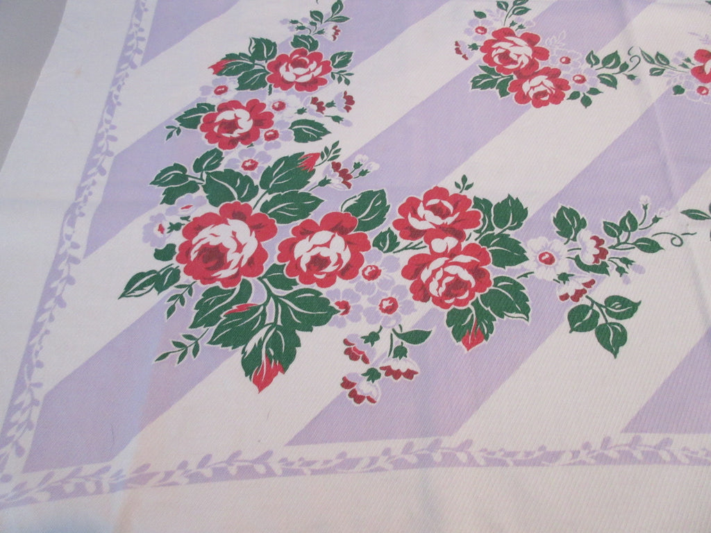 Red Roses Lavender Stripes Fiatelle Floral Vintage Printed Tablecloth (49 X 44)