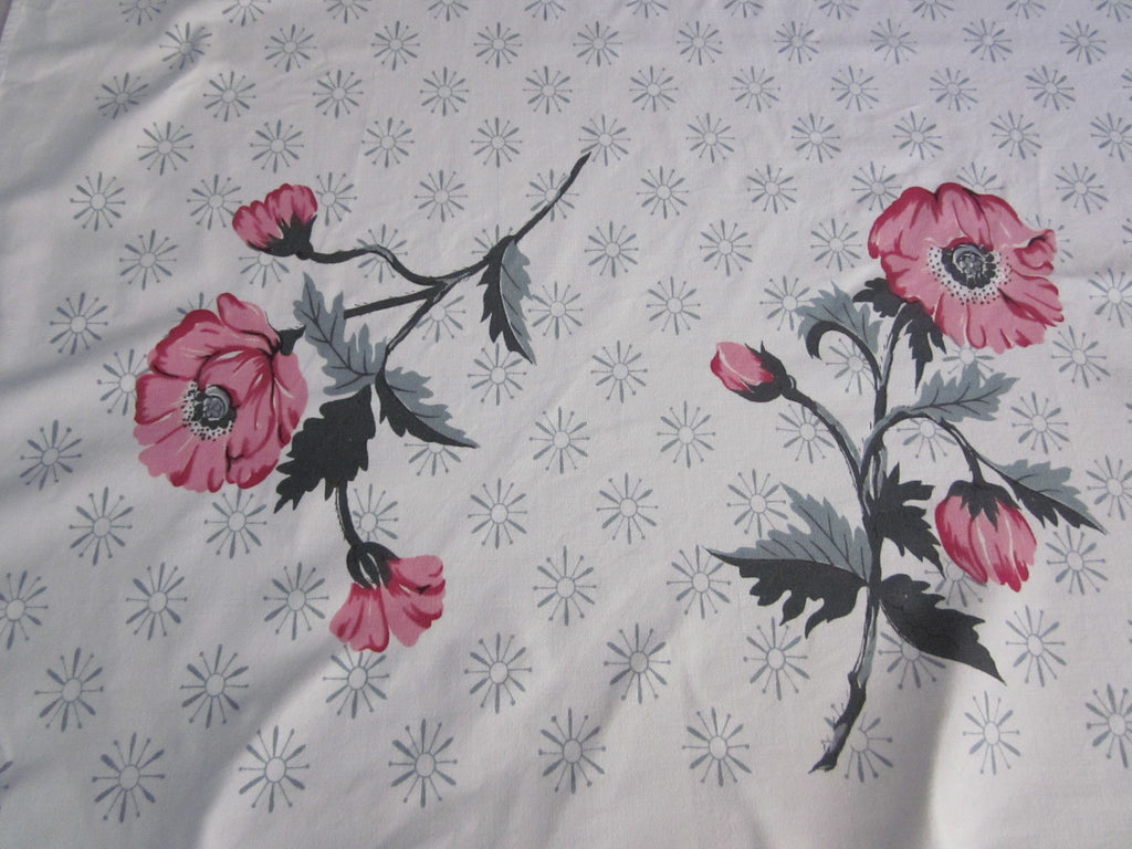 Pink Poppies Gray Atomic Starbursts Floral Vintage Printed Tablecloth (58 X 52)