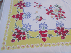 HTF 80s Reproduction Cherries on Yellow Fruit Vintage Printed Tablecloth (71 X 51)