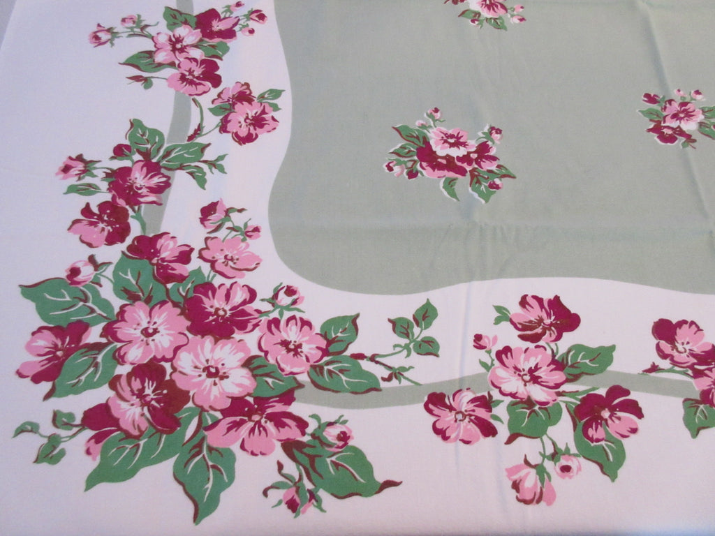 Shabby Pink Apple Blossoms on Green Floral Vintage Printed Tablecloth (52 X 44)