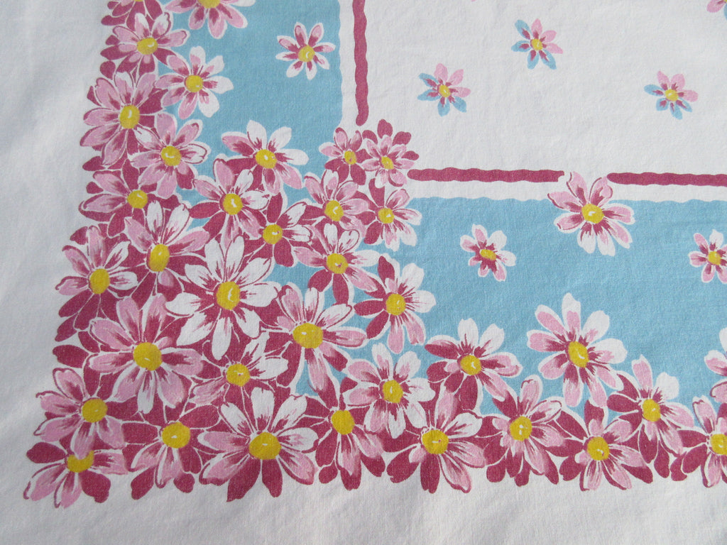 Large Pink Daisies on Aqua Floral Vintage Printed Tablecloth (69 X 56)