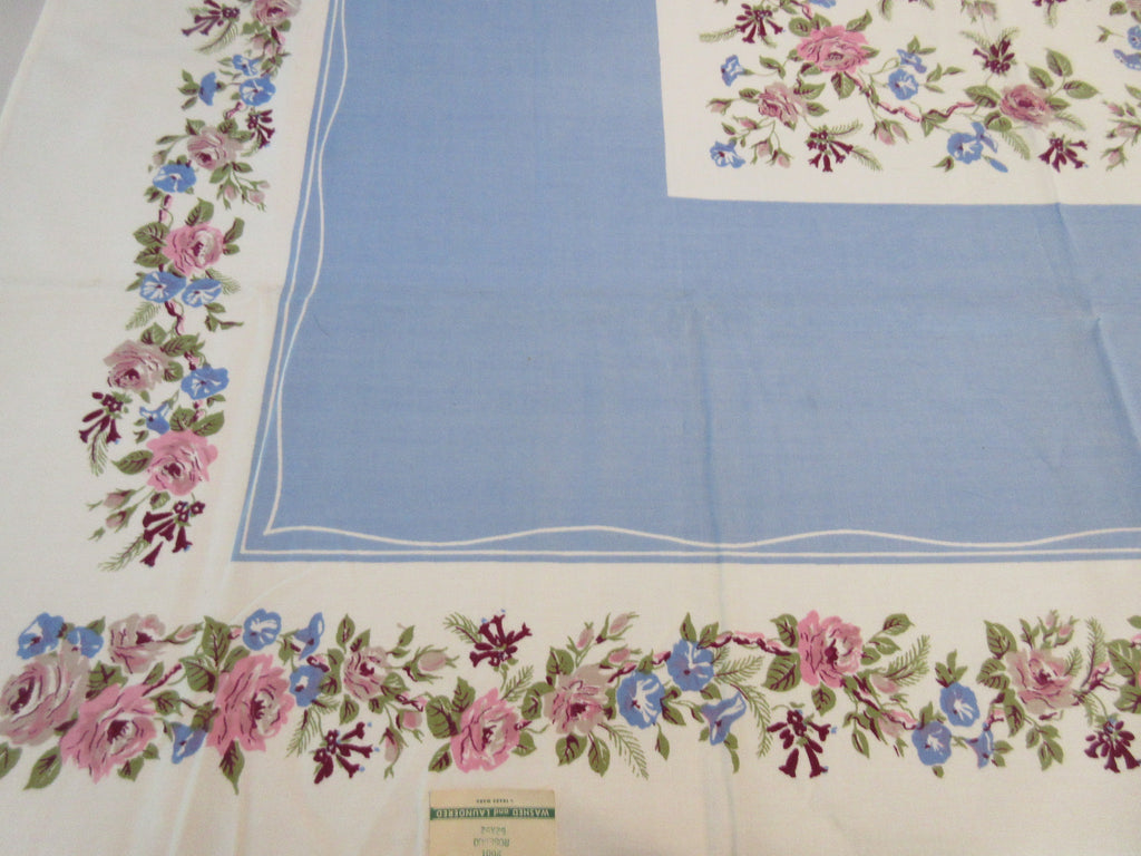 IMPERFECT Roses Morning Glories on Blue MWT Floral Vintage Printed Tablecloth (53 X 50)