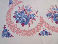 Early Heavy Blue Magenta Wild Roses on Pink Floral Vintage Printed Tablecloth (70 X 60)