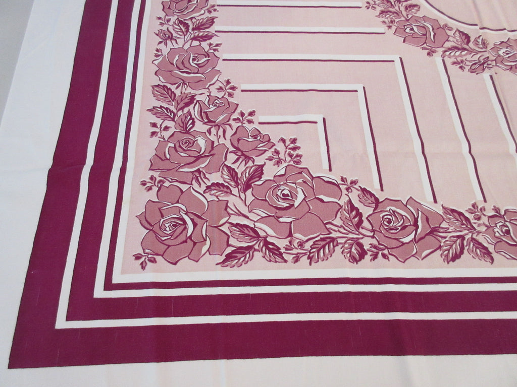 Shabby Roses Pink Magenta CUTTER Floral Vintage Printed Tablecloth (52 X 46)
