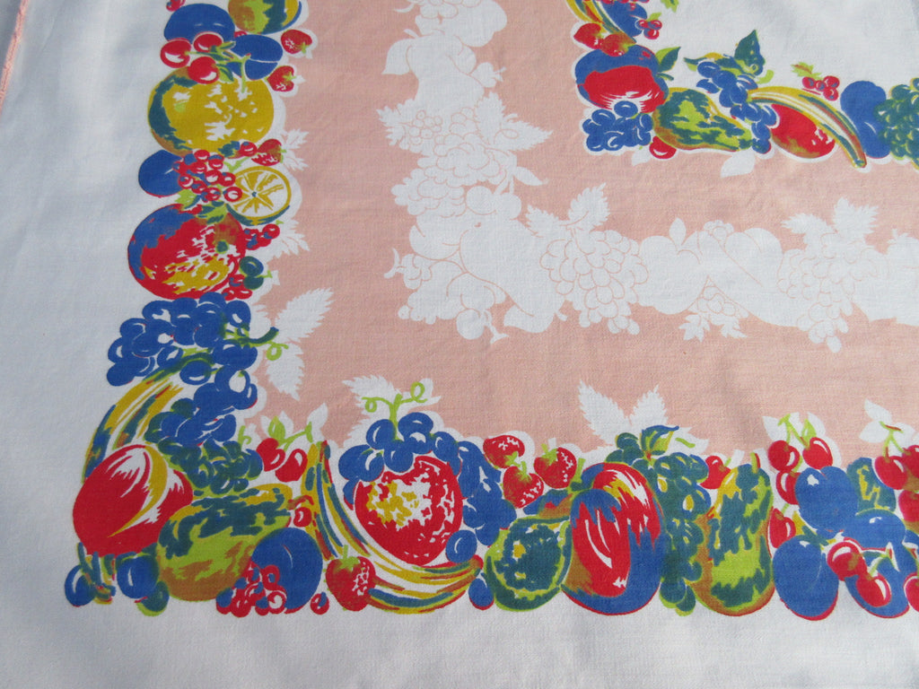 Primary Fruit on Peach Edging Vintage Printed Tablecloth (50 X 49)