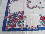 Red Blue Patriotic Roses MWT Floral Vintage Printed Tablecloth (50 X 49)
