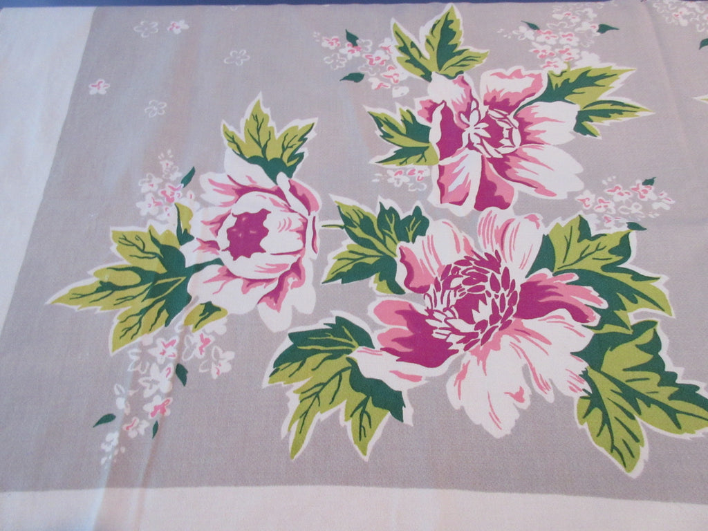 Pink Peonies on Gray Simtex Floral Vintage Printed Tablecloth (53 X 49)