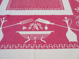 Faded Reverse Printed Colanders Kitchen on Red Novelty Vintage Printed Tablecloth (53 X 46)