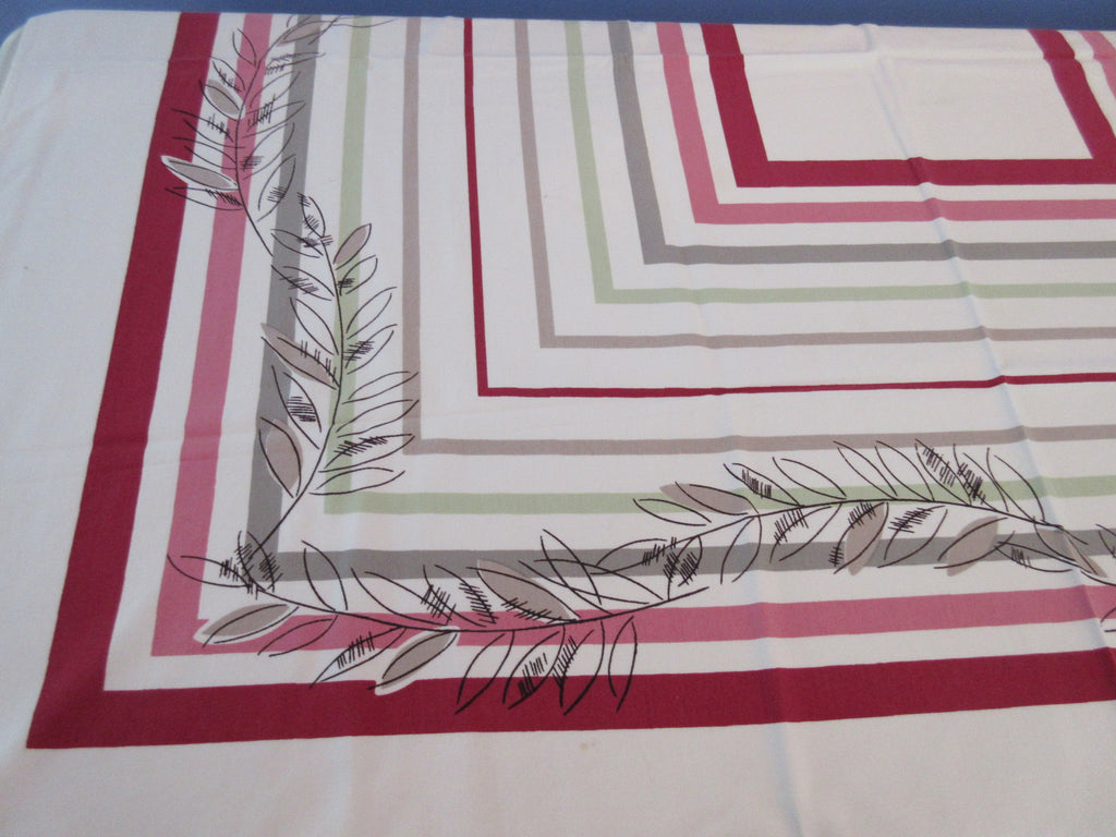 Leaves on Burgundy Tan Green Stripes Novelty Vintage Printed Tablecloth (52 X 46)