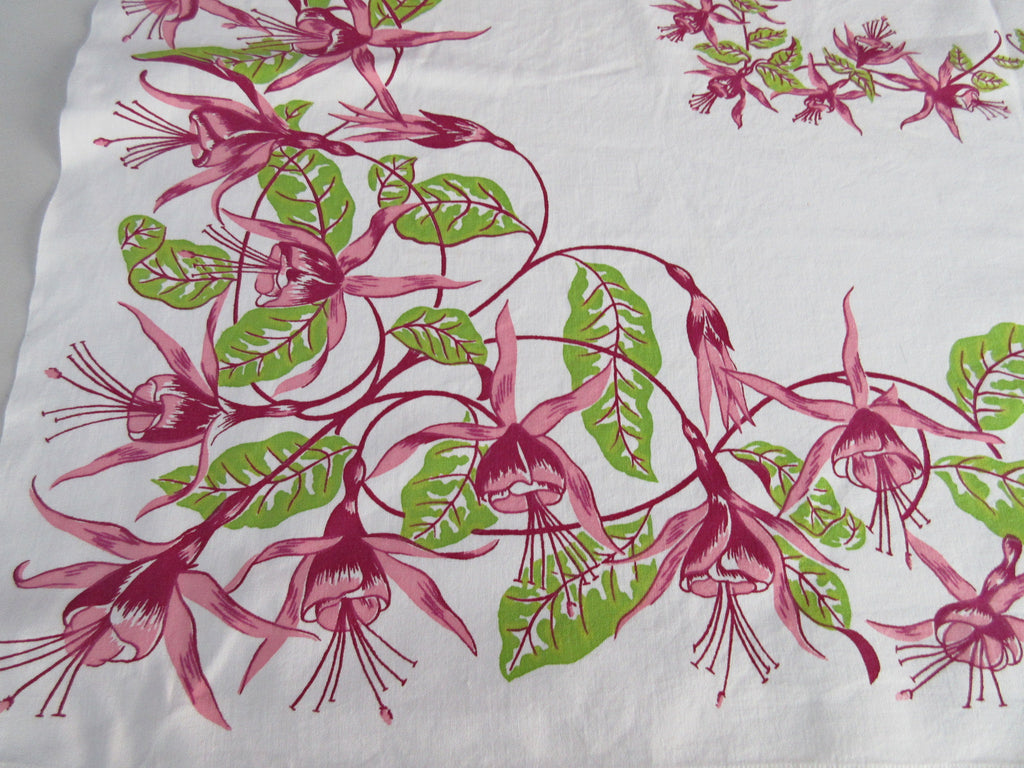 Pink Green Fuscias Floral Vintage Printed Tablecloth (49 X 47)