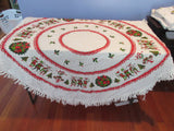 Christmas Cutter Lot ROUND/OVAL Vintage Printed Tablecloth a1105