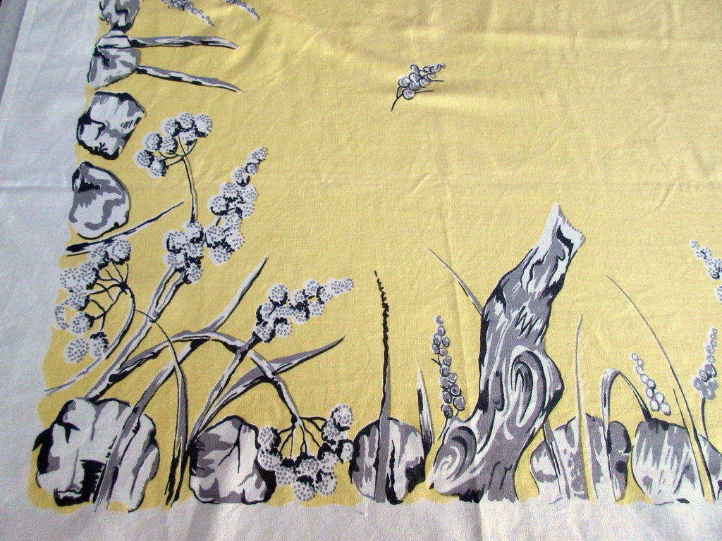 Soft Yellow Driftwood Floral NWOT Vintage Printed Tablecloth (62 X 53)